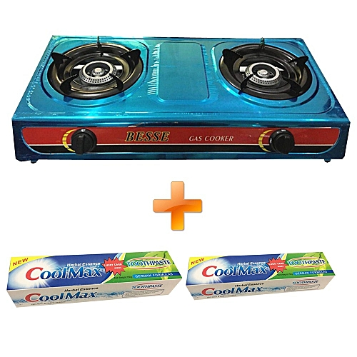Besse Gas Stove Table Top Stainless Steel Double Burner Get Two Free Toothpaste 150g